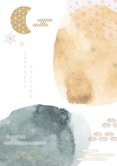 수채화 텍스처와 추상 미술 배경입니다. 아시아 아이콘 일러스트와 함께 일본 템플릿입니다.
