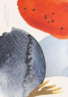 Абстрактное искусство фон с акварельной текстурой. японский волновой узор с иллюстрацией шаблона мазка кистью в азиатском стиле.