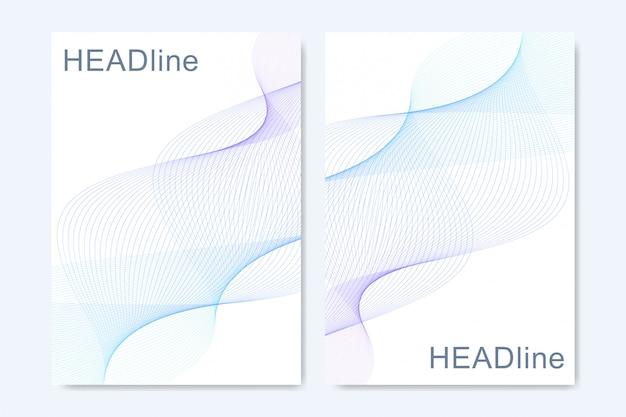 線と点を結んで抽象芸術構成。波の流れ。デジタル技術、科学または医療の概念。