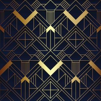 抽象アールデコの青と金色のパターン