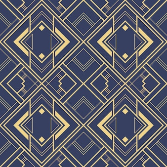 Abstract art deco blue geometric tiles pattern.