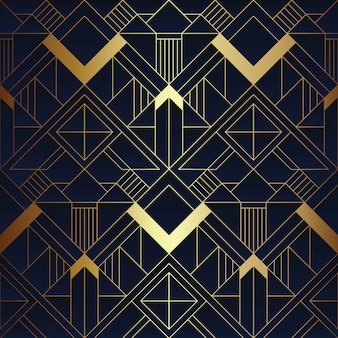 Abstract art deco blue and golden pattern