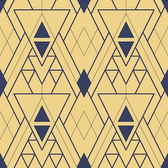 Abstract art deco seamless gold geometric tiles pattern