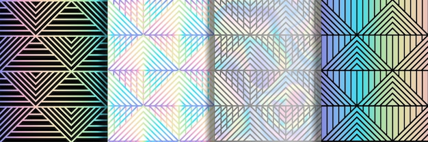 삼각형과 줄무늬가 있는 추상 아트 데코 원활한 패턴 반복 레인보우 호일 월페이퍼