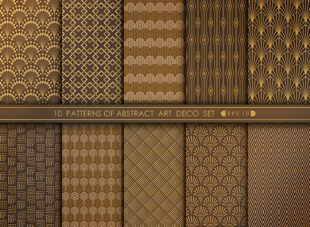 Abstract art deco style pattern set of decoration background.
