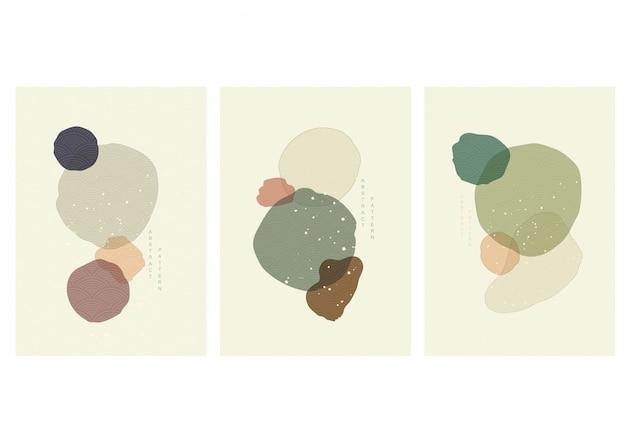 일본 파 벡터와 추상 미술 그림입니다. 빈티지 스타일의 아트 아크릴 작품.