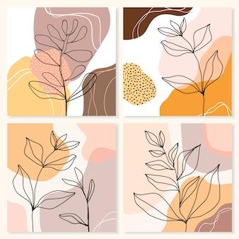 Линия абстрактного искусства с разными листьями. современный современный дизайн, формы каракули.