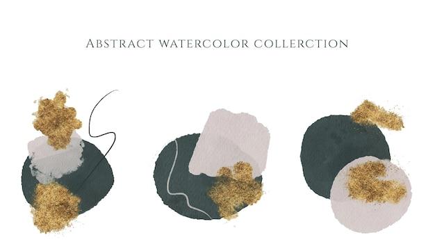 Абстрактное искусство минималистская иллюстрация зеленая акварель и золотая текстура композиции