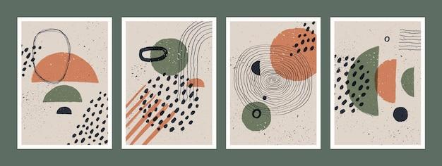 Набор абстрактных художественных минималистичных плакатов
