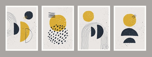 抽象芸術のミニマリストポスターセット