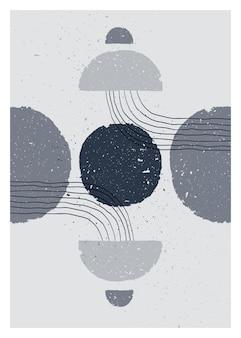 抽象芸術モノクロミニマリストポスター