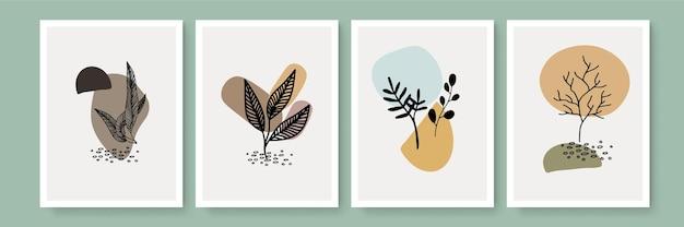 추상 미술 자연 배경 벡터입니다. 현대적인 모양의 라인 아트 벽지. boho 단풍 식물은 홈 데코, 벽 예술, 소셜 미디어 게시물 및 스토리 배경을 위한 수채화 텍스처 디자인을 남깁니다.