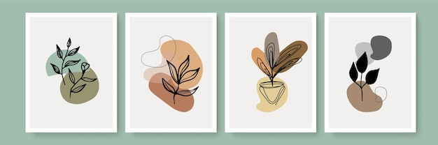 Abstract art nature background vector. modern shape line art wallpaper. boho foliage botanical leaves watercolor texture design for home deco, wall art, social media post and story background