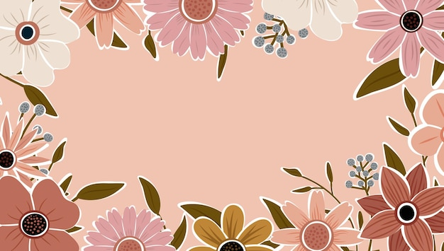 Abstract art nature background vector. trendy plants frame. design background color flowers, decorative beautiful garden. botanical leaves and floral pattern design for summer sale banner.
