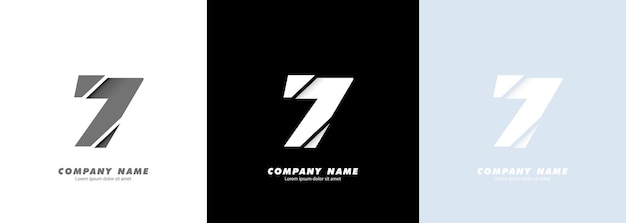 Abstract art number 7 logo. broken design.