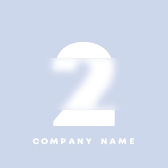 추상 미술 번호 2 로고입니다. 유리 형태 . 흐릿한 스타일 글꼴, 타이포그래피 디자인, 알파벳 문자 및 숫자. defocus 글꼴 디자인, 집중 및 defocused 스타일 알파벳. 벡터 일러스트 레이 션