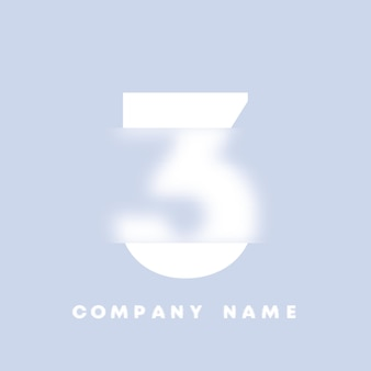 추상 미술 숫자 3 로고입니다. 유리 형태 . 흐릿한 스타일 글꼴, 타이포그래피 디자인, 알파벳 문자 및 숫자. defocus 글꼴 디자인, 집중 및 defocused 스타일 알파벳. 벡터 일러스트 레이 션