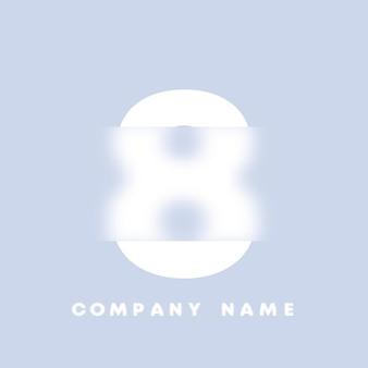 추상 미술 숫자 8 로고입니다. 유리 형태 . 흐릿한 스타일 글꼴, 타이포그래피 디자인, 알파벳 문자 및 숫자. defocus 글꼴 디자인, 집중 및 defocused 스타일 알파벳. 벡터