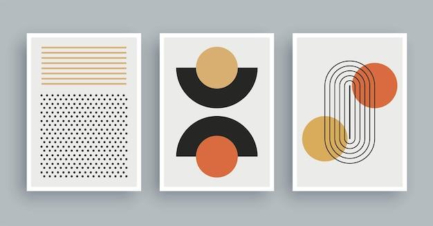 Картина абстрактного искусства с предпосылкой цветов бохо. минималистичный современный рисунок геометрических элементов.