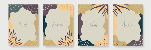 꽃과 기하학적 요소가 있는 추상 미술 템플릿입니다. 유기 배경입니다. 소셜 미디어 게시물, 모바일 앱, 배너 디자인 및 웹, 인터넷 광고에 적합합니다. 벡터 패션 배경