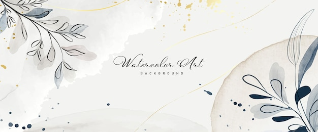 Abstract art watercolor earth tone botanical and gold line for nature banner background. watercolor hand-painted design suitable for use as header, web, wall decoration. brush included in file.