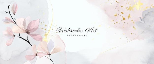 自然のバナーの背景に抽象的なアート水彩の優しい花とゴールドのスプラッシュ。ヘッダー、ウェブ、壁の装飾として使用するのに適した水彩画のアートデザイン。ファイルに含まれているブラシ。