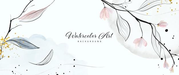 抽象芸術水彩画の優しい花の葉と自然バナーの背景の金のドロップ。ヘッダー、ウェブ、壁の装飾として使用するのに適した水彩画のアートデザイン。ファイルに含まれているブラシ。