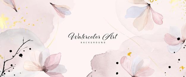 自然のバナーの背景に抽象的なアート水彩画の優しいピンクの花とゴールドのスプラッシュ。ヘッダー、ウェブ、壁の装飾として使用するのに適した水彩画のアートデザイン。ファイルに含まれているブラシ。