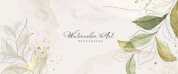 Абстрактное искусство акварель зеленые листья ботанические и золотой всплеск для фона баннера природы. акварель, расписанный вручную дизайн, подходит для использования в качестве заголовка, сети, украшения стен. кисть включена в файл.