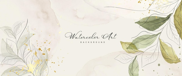 Abstract art watercolor green leaves botanical and gold splash for nature banner background. watercolor hand-painted design suitable for use as header, web, wall decoration. brush included in file.