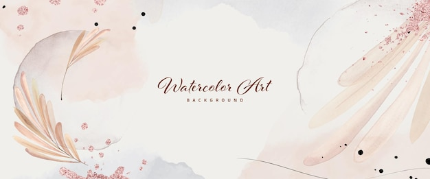 Abstract art watercolor leaves with rose gold foil for nature banner background. watercolor art design suitable for use as header, web, wall decoration.