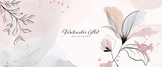 Абстрактное искусство акварель с цветочными листьями и каплями розового золота для фона баннера природы. художественный дизайн подходит для использования в качестве заголовка, сети, украшения стен. текстуры акварель кисти включены в файл.
