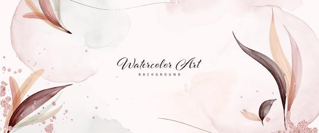 자연 배너 배경에 나뭇잎과 핑크 골드 방울이 있는 추상 미술 수채화. 헤더, 웹, 벽 장식으로 사용하기에 적합한 아트 디자인.