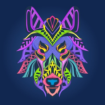 Abstract art wolf face