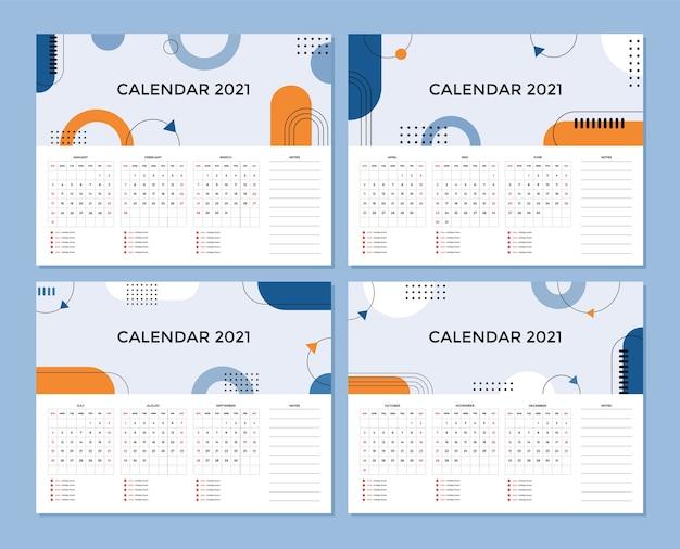 Абстрактный художественный дизайн настольного календаря с началом недели в воскресенье