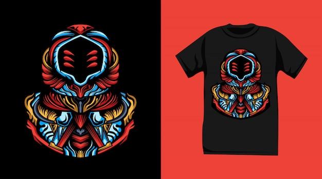 抽象的な宇宙飛行士のtシャツデザイン