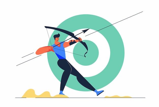 矢印とゲームのターゲットを持つ抽象的なアスリートアーチェリー男