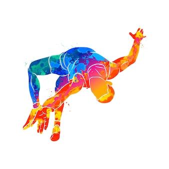 Абстрактный спортсмен прыгает в высоту от всплеска акварелей
