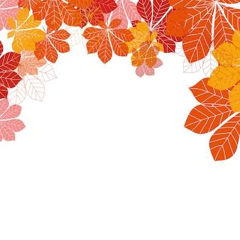 白い背景の上の抽象的な紅葉。図