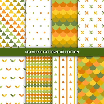 Abstract autumn patterns with green, yellow, white and orange color