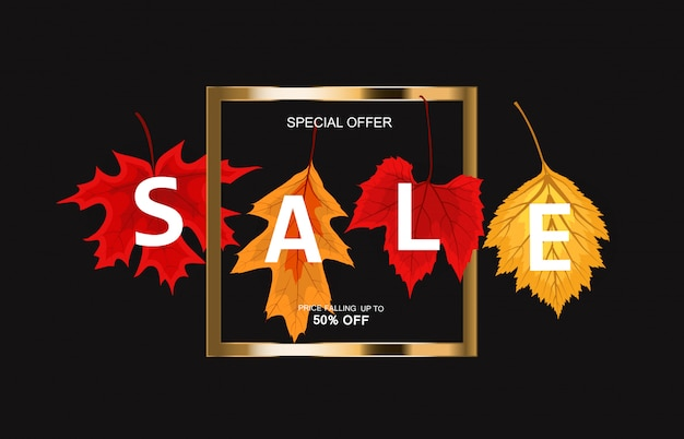 Abstract autumn sale background with falling autumn leaves