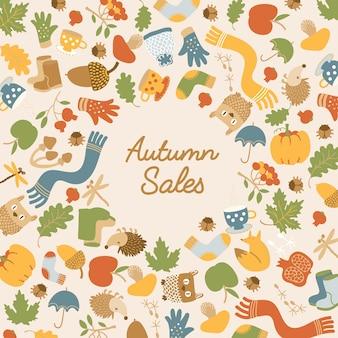 Абстрактный осенний шаблон продаж с надписью и красочными сезонными элементами на свете