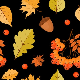 Abstract autumn seamless pattern  background with falling leaves, rowan and acorn.