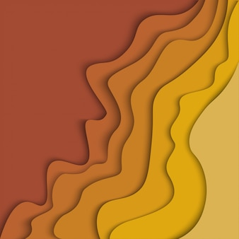 Abstract autumn seasonal wave background with paper cut shapes.