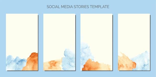 소셜 미디어 이야기 템플릿의 추상 아기 파란색과 갈색 수채화 얼룩