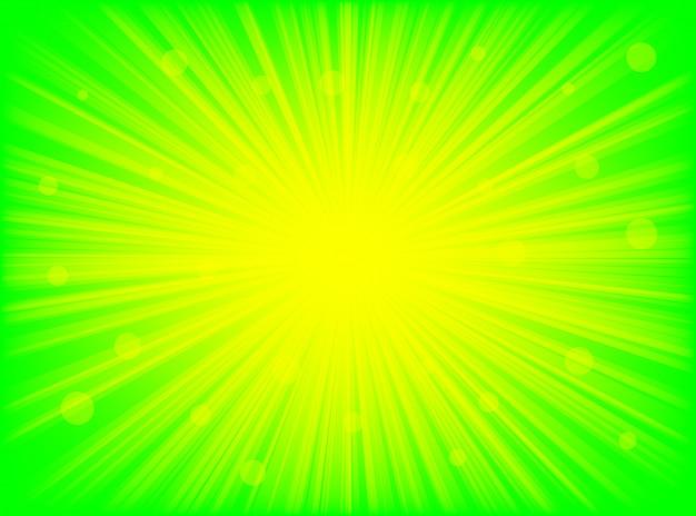 抽象的な背景の緑と黄色の放射状の線の背景