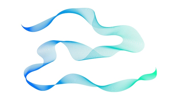 Abstract backdrop with blue and green wave gradient lines on white background. modern technology background, wave design. vector illustration