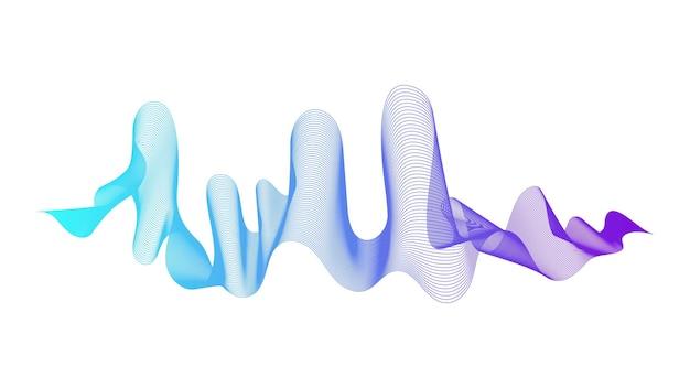 白い背景の上の青い波のグラデーションの線で抽象的な背景。現代の技術の背景、波のデザイン。ベクトルイラスト