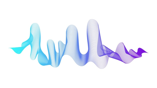 Abstract backdrop with blue wave gradient lines on white background. modern technology background, wave design. vector illustration
