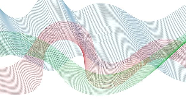 白い背景の上のカラフルな波のグラデーションの線で抽象的な背景。現代の技術の背景、波のデザイン。ベクトルイラスト